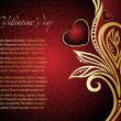 Floral valentine card with red heart — Image vectorielle