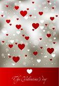 Kırmızı kalp ile çiçek sevgililer günü kartı — Stok Vektör