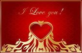 Carte de Saint Valentin floral avec coeur rouge — Vecteur