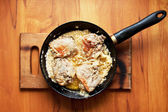Fatty meat fried in a skillet — Foto de Stock
