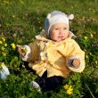 Outdoor portrait of a cute little baby in the grass — Stock Photo