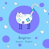 Gracioso gato blanco — Vector de stock