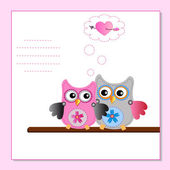 Couple little sweet owls — Stock Vector
