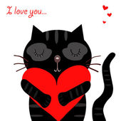 Love black cat — Stock Vector