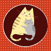 Kittens with mom — Stock Vector