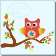 Stock Vector: Little sweet owl message