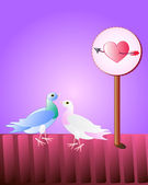 Couple of dove , as a symbol of love. — Stock Vector
