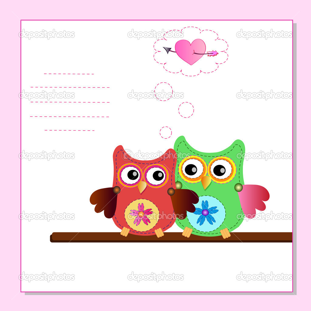 Little sweet owl message — Stock Vector #9201480