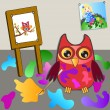 Royalty-Free Stock Vector Image: Little sweet owl of paiting