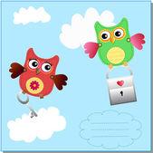 Küçük tatlı baykuşlar mesaj — Stok Vektör