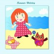 Cute little girl picnic on the beach — Stock Vector