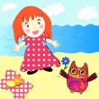 Royalty-Free Stock Vector Image: Cute little girl picnic on the beach