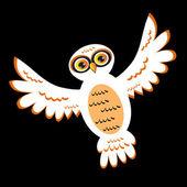 Cartoon White Owl (vector version) — Stock Vector