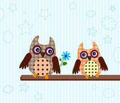 Funny little owls — Stock Vector