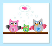 Little sweet owls family — Stock Vector
