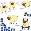 Doodle sheep set — Stock Vector