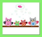 Little sweet owls family — Stock Vector
