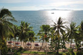 Beach with palm trees of luxury hotel, Pattaya, Thailand — Stock Photo