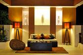 Modern lobby interior in night illumination, Phuket, Thailand — Stock Photo