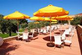 Outdoor restaurant at the modern luxury hotel, Thassos island, — Stock Photo