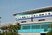 DUBAI, UAE - AUGUST 27: The Palm Jumeirah monorail station and t — Stock Photo