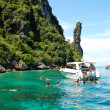 KOH PHI PHI, THAILAND - SEPTEMBER 13: Snorkeling tourists on tur - 