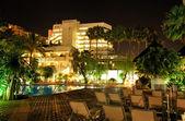 Night illumination of luxury hotel, Tenerife island, Spain — Stock Photo