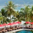 Stock Photo: Swimming pool at luxury hotel with view on Patong beach, P
