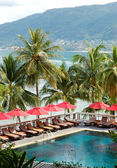 Swimming pool at the luxury hotel with a view on Patong beach, P — Stock Photo