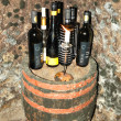 TOKAJ REGION-MARCH 11: Set of Tokaj wines bottles in the wine ce - Stock Photo