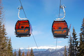 JASNA-MARCH 15: Cableway cabins at Jasna Low Tatras. It is the l — Stock Photo