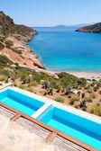 Sea view swimming pools at the luxury villa, Crete, Greece — Stock Photo