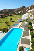 View from luxury hotel on golf field, Crete, Greece — 图库照片
