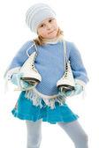 一个女孩在白色背景上的溜冰鞋. — 图库照片