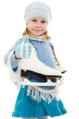 Happy girl with skates on white background. — Stock Photo