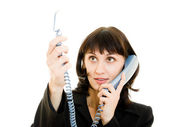 Beautiful smiling business woman talking on the phone — Stock fotografie