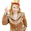 Happy business woman in a festive hat with wine glasses in hand on white ba — Stock Photo #8365828