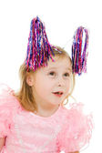 Funny girl in a pink dress with antennae on their heads on a white backgrou — Stock Photo
