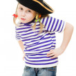 Terrible pirate girl in shirt and hat on a white background. — Stock Photo