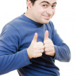A successful man shows gesture okay on a white background. Ключевые слов — Stock Photo
