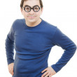 Funny man in glasses on white background. — Stock Photo