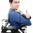 Men with skates gesture shows okay on white background — Stock Photo #9023160