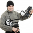 Man with skates on white background. — Stock Photo #9023281