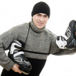 Man with skates on white background. — Stock Photo #9023291