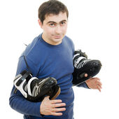 Men with skates on white background. — Stock Photo