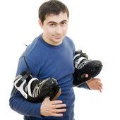 Hombres con patines sobre fondo blanco. — Foto de Stock