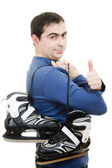 Men with skates gesture shows okay on white background — Stock Photo