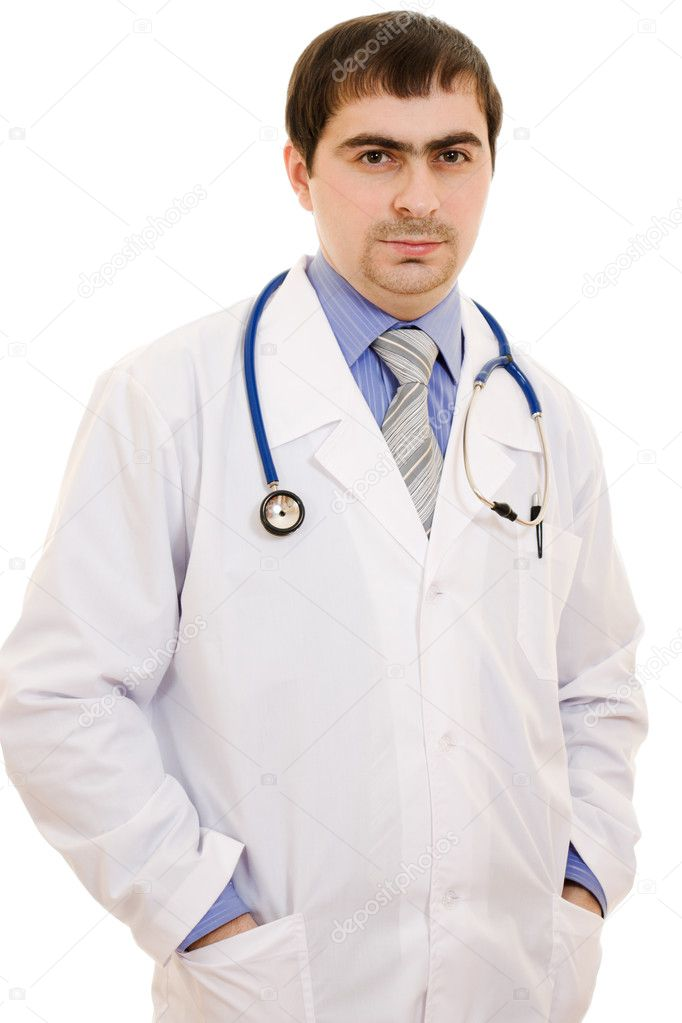 A doctor with a stethoscope on a white background. — Stock Photo #9230767