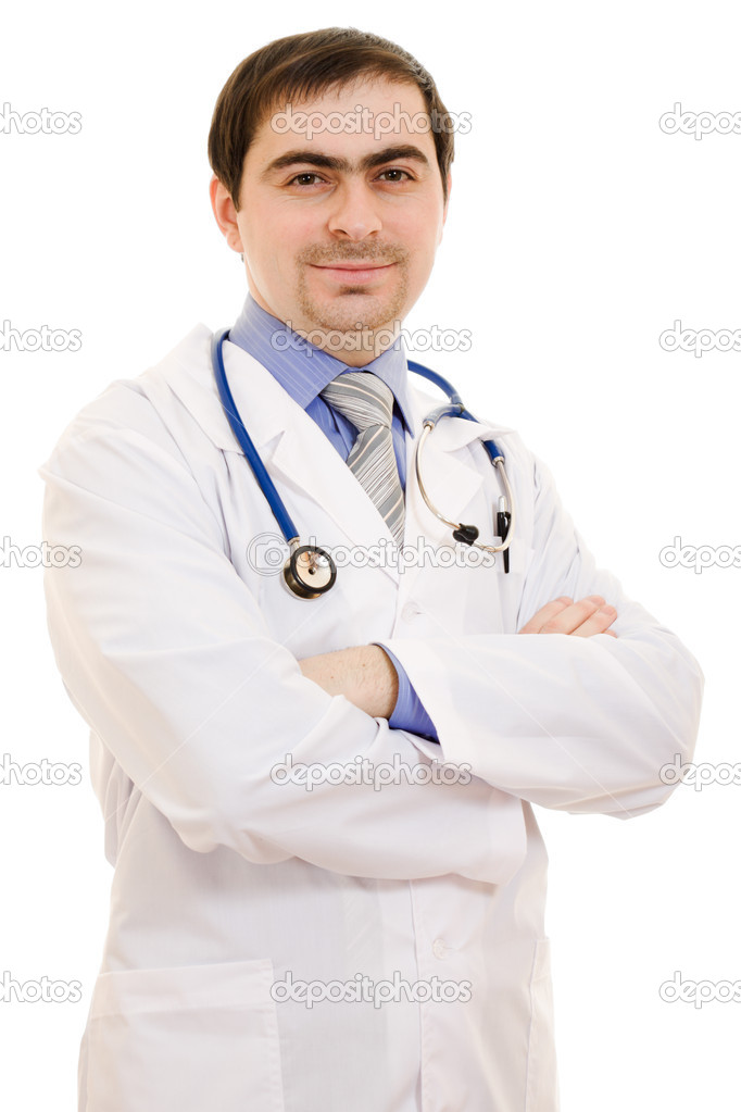 A doctor with a stethoscope placed his hands crosswise on a white background.  Lizenzfreies Foto #9230960