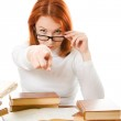 Young student with her books in glasses — Stock Photo #9690179